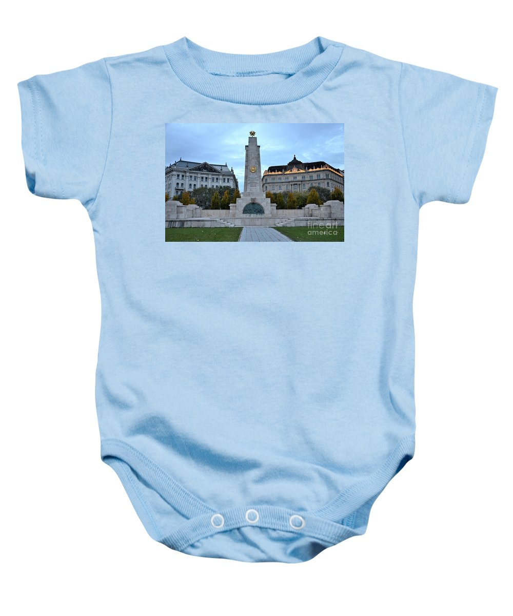 Soviet Union Baby Onesie featuring the photograph Soviet Red Army Monument Budapest Hungary by Imran Ahmed