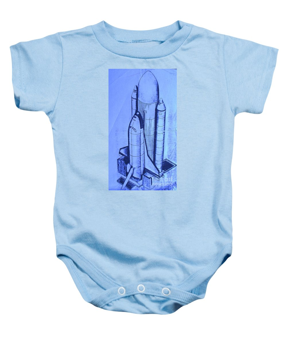 Space Shuttle Baby Onesie featuring the painting Space Shuttle by Eric Schiabor