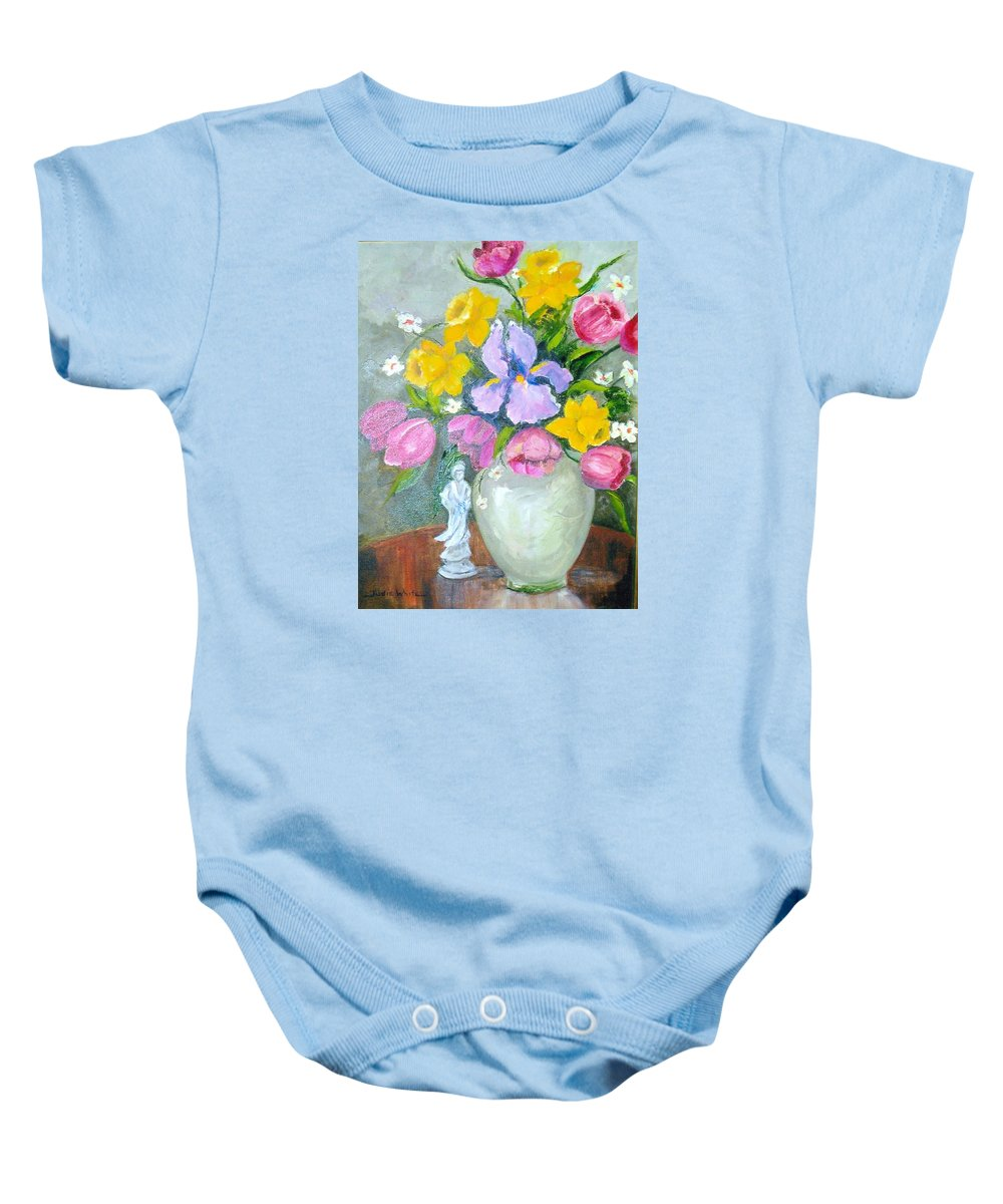 Tulip Baby Onesie featuring the painting Spring Blooms by Judie White