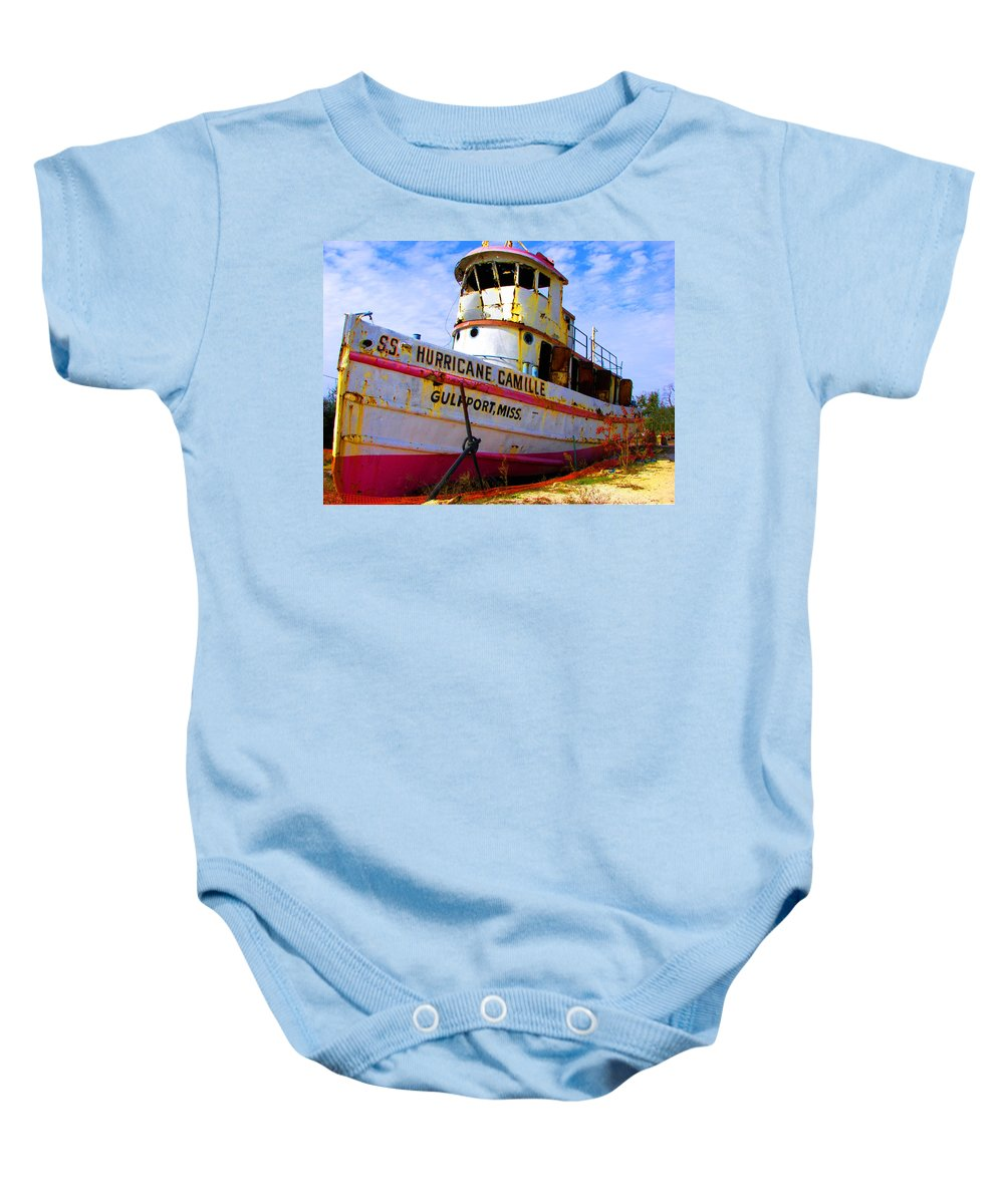 Rebecca Korpita Baby Onesie featuring the photograph Ss Hurricane Camille Tugboat by Rebecca Korpita