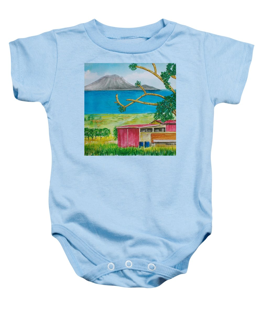 Caribbean St Eustatis St. Kitts Volcano Island Red Shed Slope Weird Trees Baby Onesie featuring the painting St. Eustatis From St. Kitts by Frank Hunter