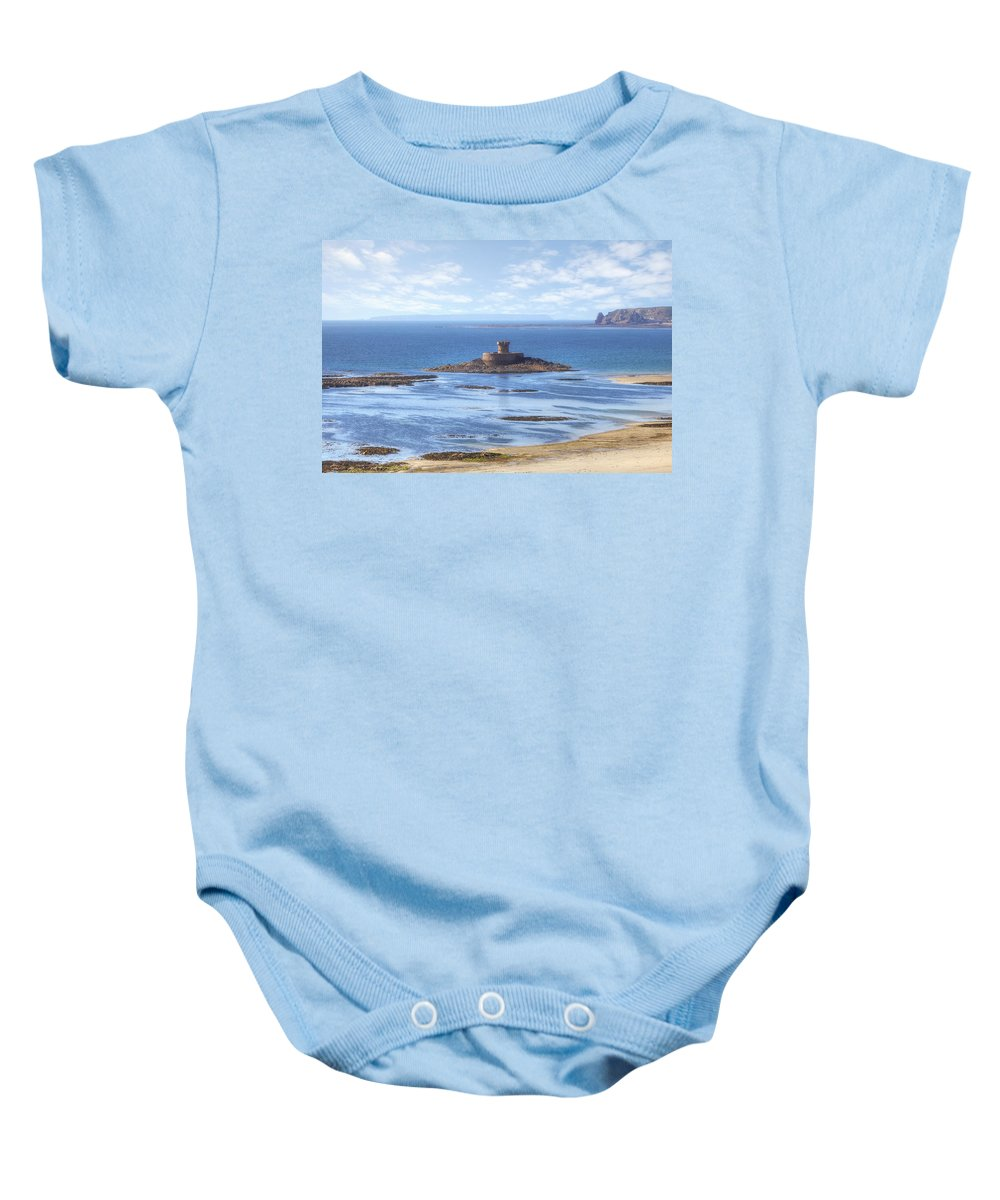 St Ouen's Bay Baby Onesie featuring the photograph St Ouen's Bay by Joana Kruse