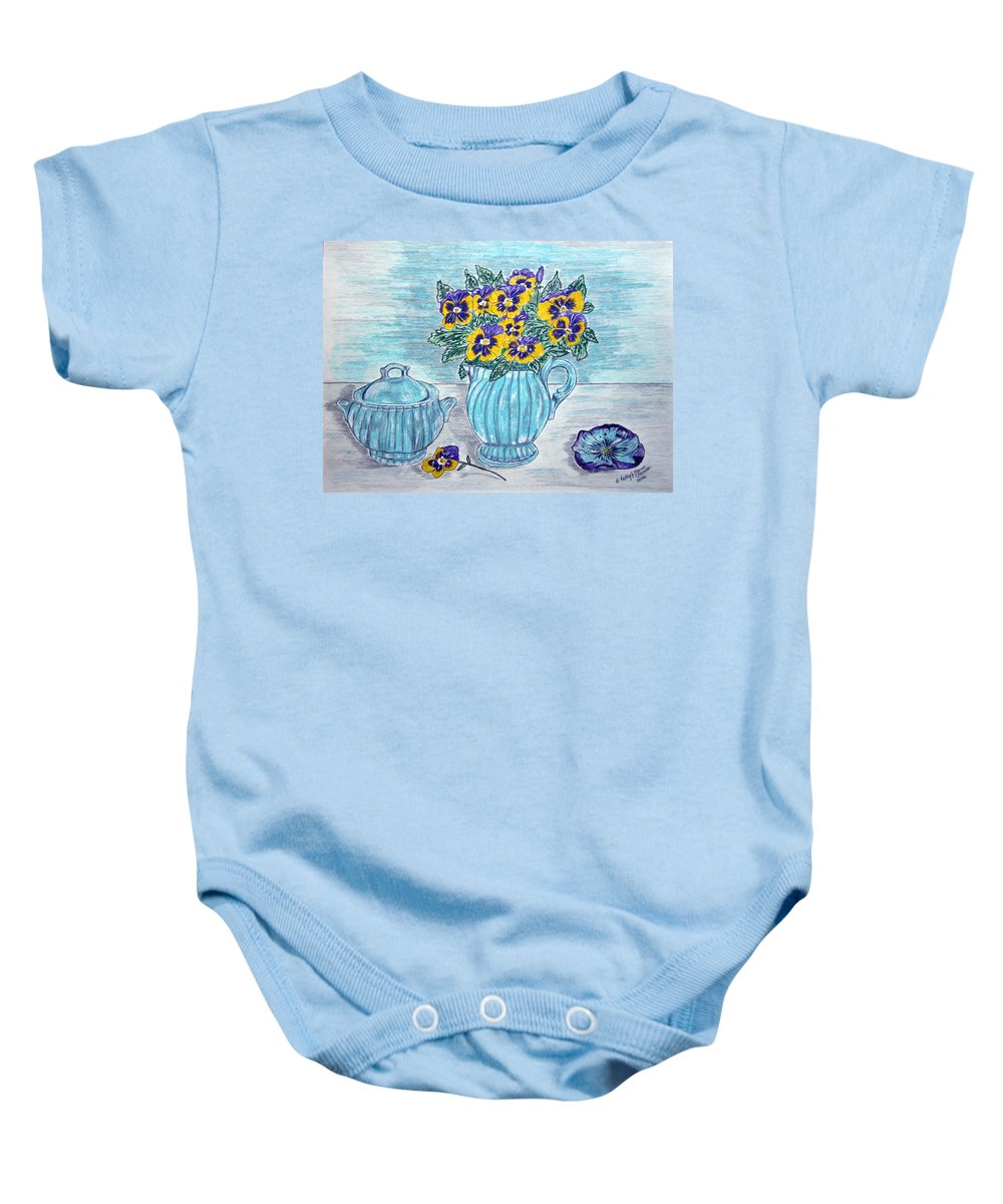 Stangl Pottery Baby Onesie featuring the painting Stangl Pottery And Pansies by Kathy Marrs Chandler