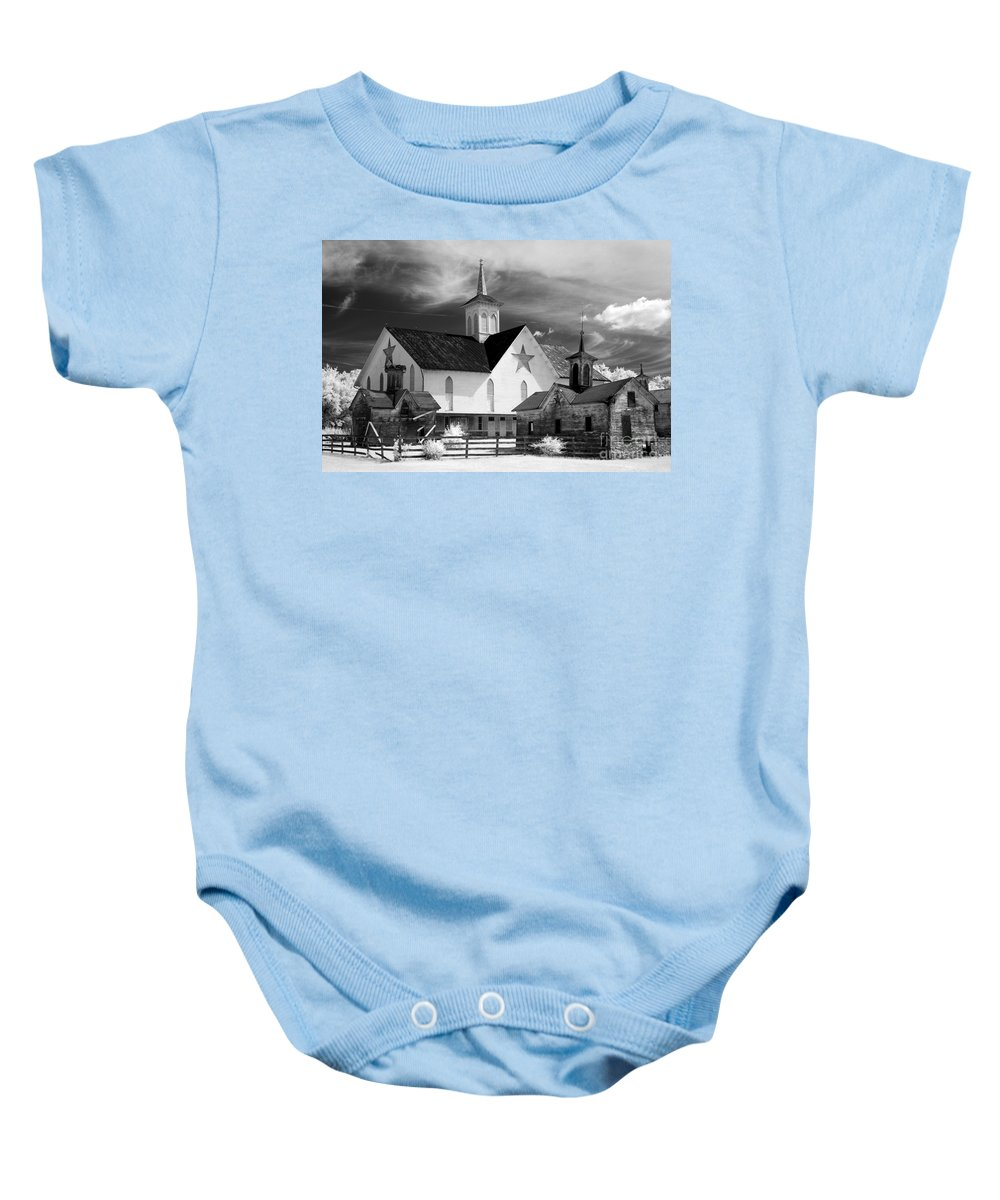 Infrared Baby Onesie featuring the photograph Star Barn Complex In Infrared by Paul W Faust - Impressions of Light