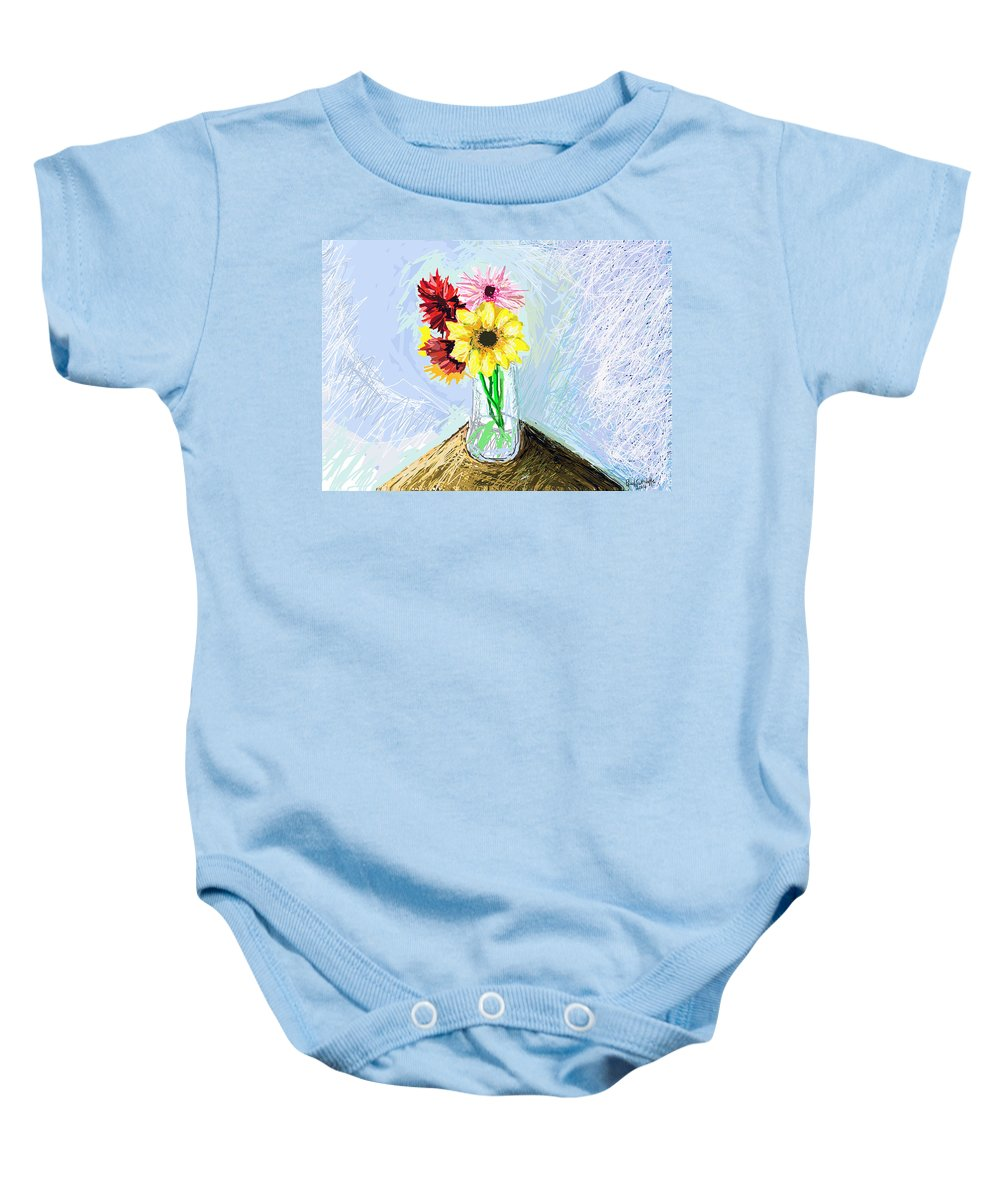 Images Of Flowers.flower Art.flower Photos Baby Onesie featuring the digital art Still Life With Flowers by Paul Sutcliffe