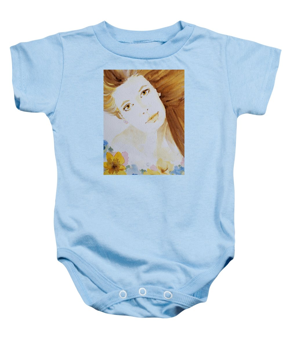 Watercolour Baby Onesie featuring the painting Still Waters' Reflection by Janice Gell