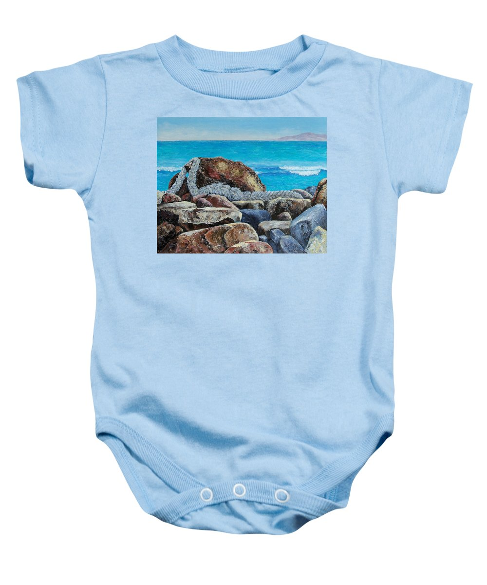 Sue Delain Baby Onesie featuring the painting Stranded by Susan DeLain