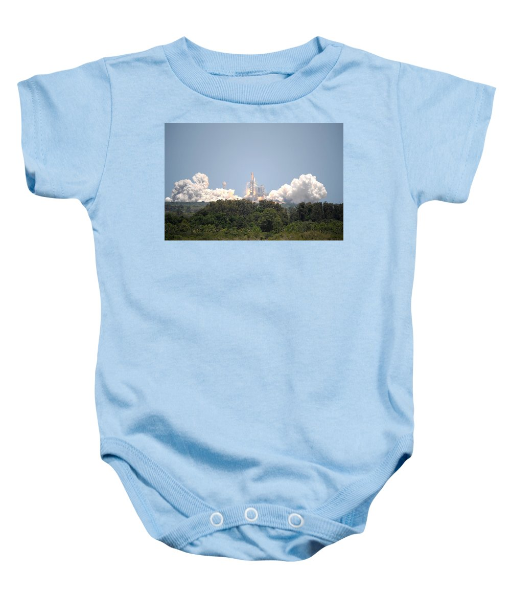 Astronomy Baby Onesie featuring the photograph Sts-132, Space Shuttle Atlantis Launch by Science Source