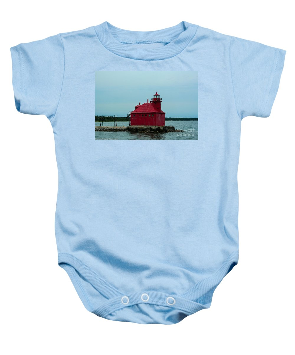 Sturgeon Bay Baby Onesie featuring the photograph Sturgeon Bay Lighthouse by Tommy Anderson