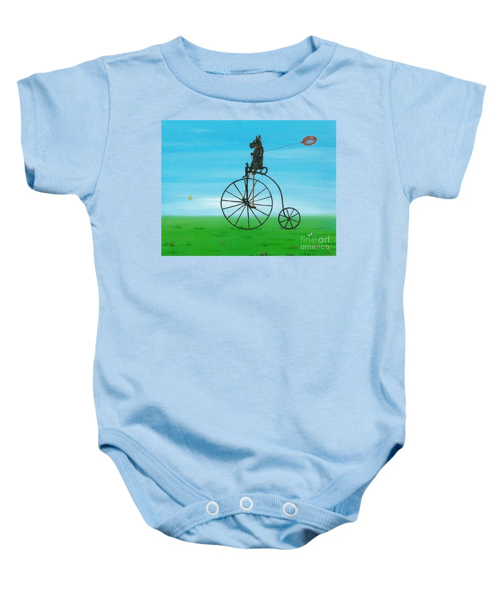 Painting Baby Onesie featuring the painting Summer Fun Scotty Style by Margaryta Yermolayeva