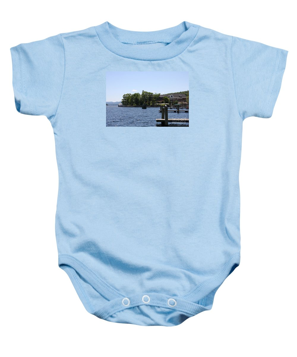 Jetty Baby Onesie featuring the photograph Summer Impression Lake Winnipesaukee by Christiane Schulze Art And Photography
