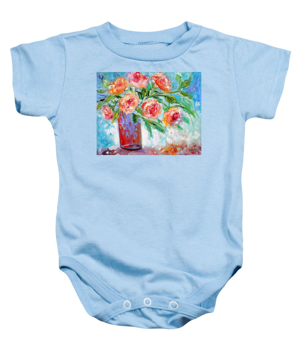 Flowers Paintings Baby Onesie featuring the painting Summer Roses by Karen Tarlton