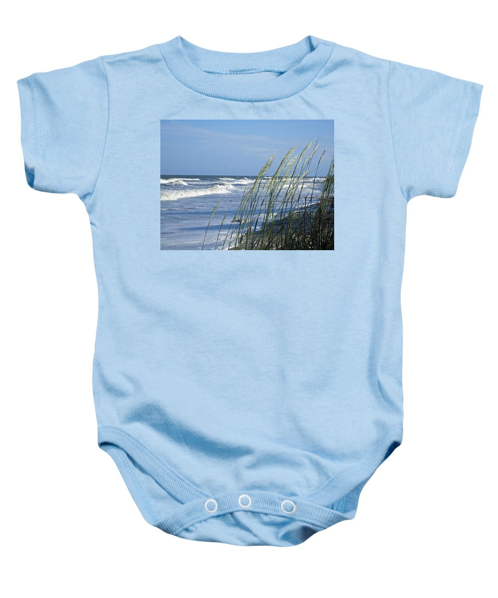Sea Oats Baby Onesie featuring the photograph Summer Sea Oats by Carol Luzzi