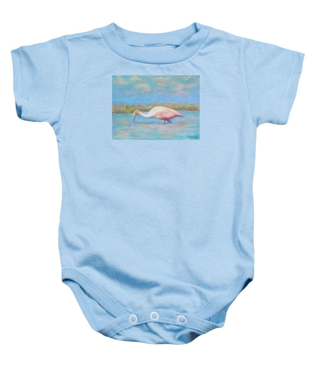 Bird Baby Onesie featuring the painting Summer Spoonbill by Patty Weeks