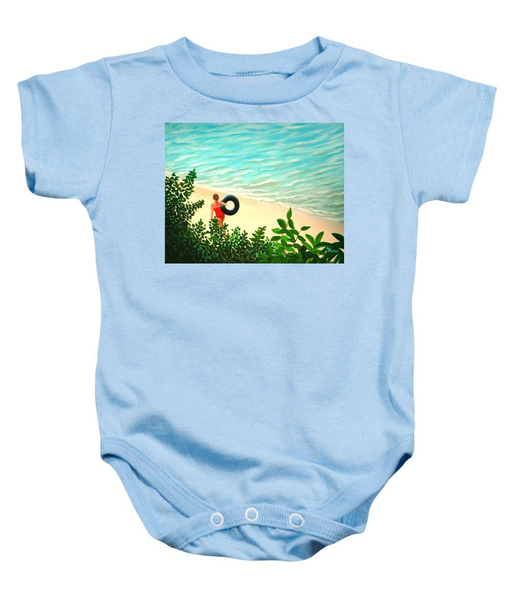 Summer Baby Onesie featuring the painting Summer Swim by Liz Boston