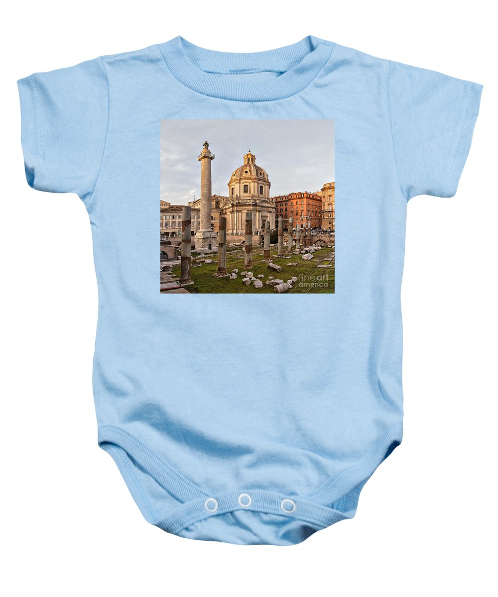 Rome Baby Onesie featuring the photograph Sun Setting On Trajans Column Rome by Sophie McAulay