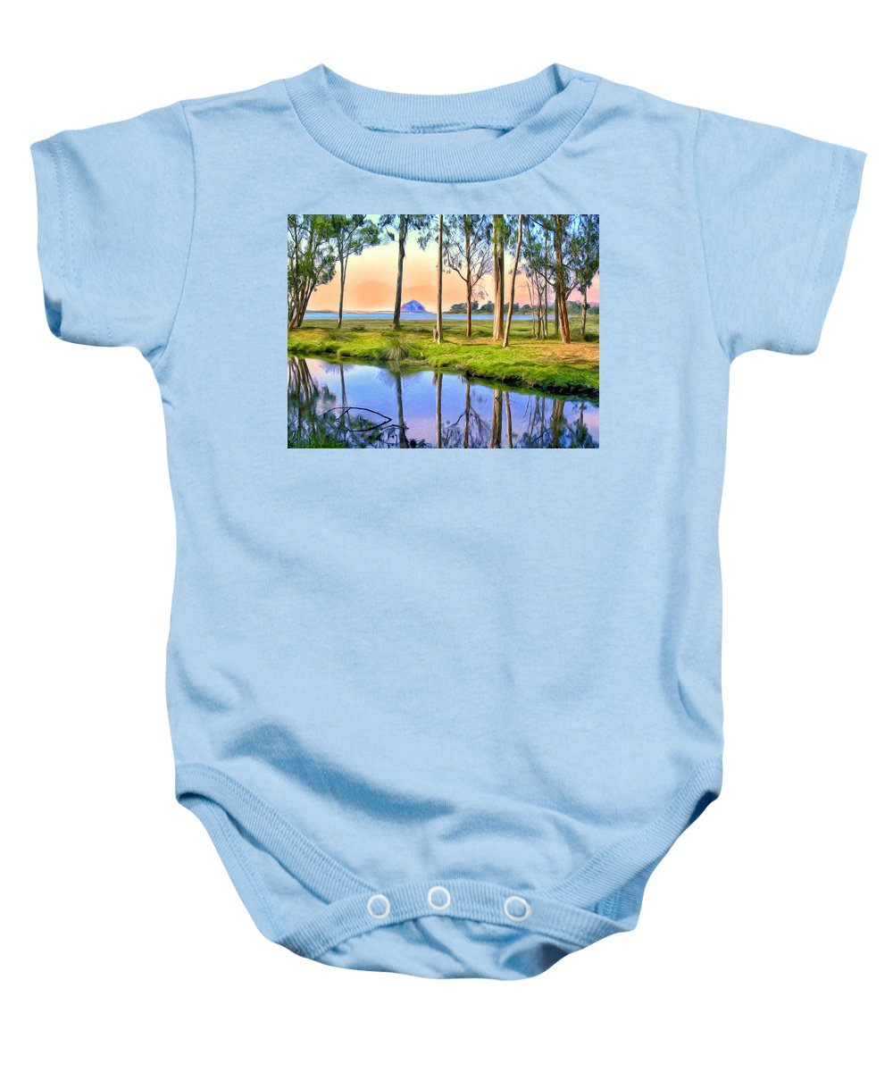 Sweet Springs Baby Onesie featuring the painting Sunset At Sweet Springs by Dominic Piperata