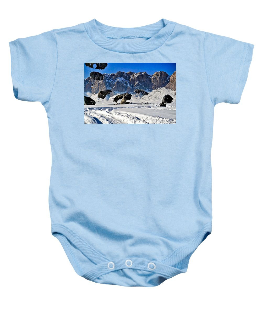 Afghanistan Baby Onesie featuring the photograph Supply Drop by Mountain Dreams