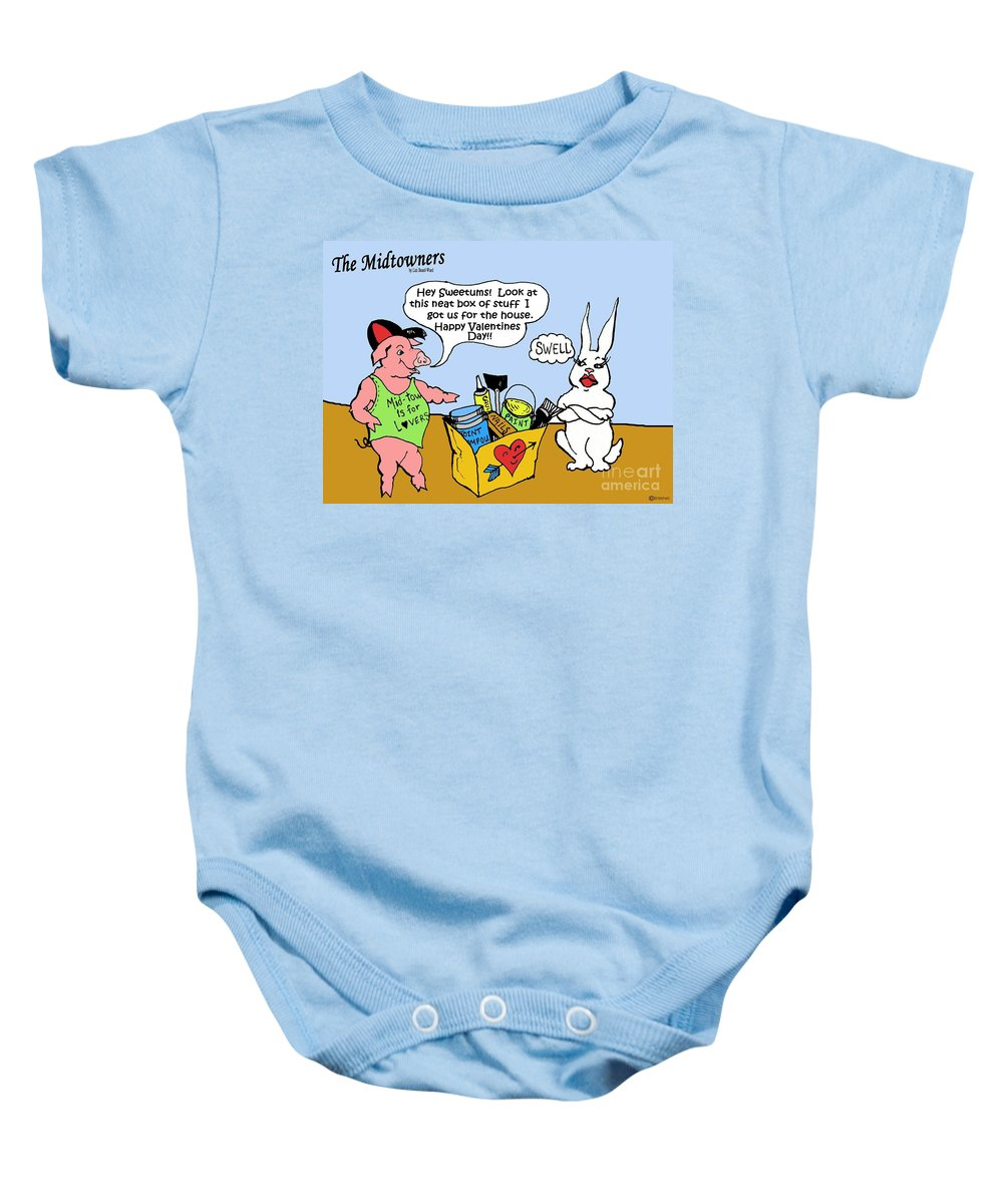 Cartoon Baby Onesie featuring the drawing Sweetums by Lizi Beard-Ward