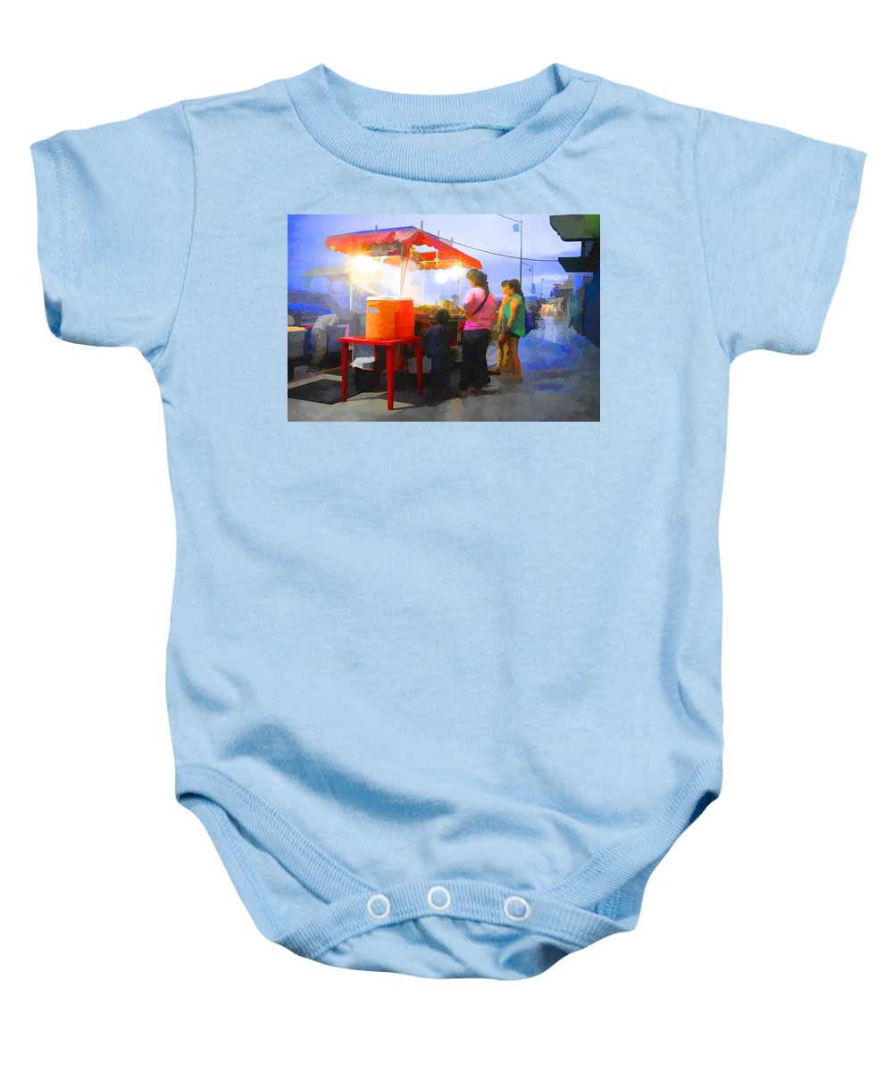 Dinner Baby Onesie featuring the photograph Taco Stand San Felipe by Hugh Smith