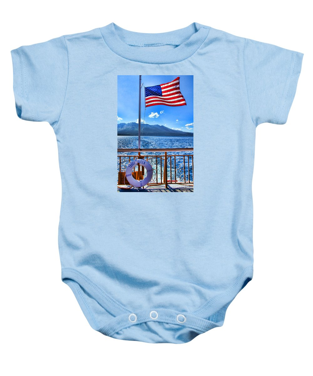 Boat Baby Onesie featuring the photograph Tahoe Queen Lake Tahoe By Diana Sainz by Diana Raquel Sainz