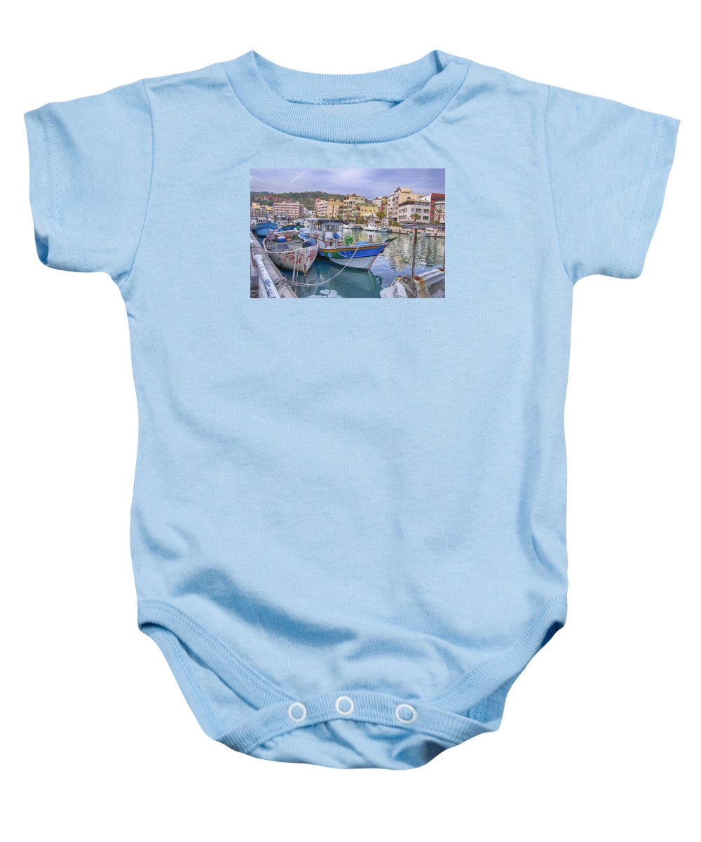 Taiwan Baby Onesie featuring the photograph Taiwan Boats by Bill Hamilton