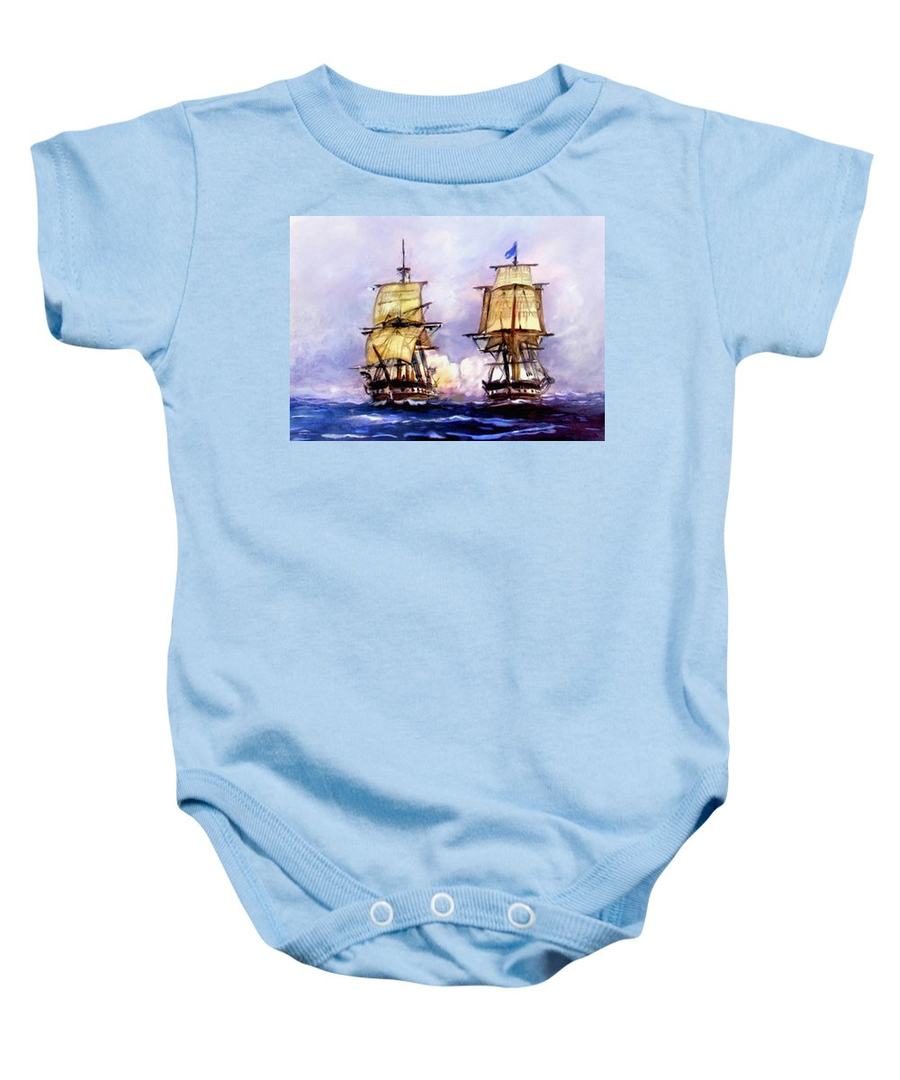 11 July Baby Onesie featuring the painting Tall Ships Uss Essex Captures Hms Alert by Bob and Nadine Johnston
