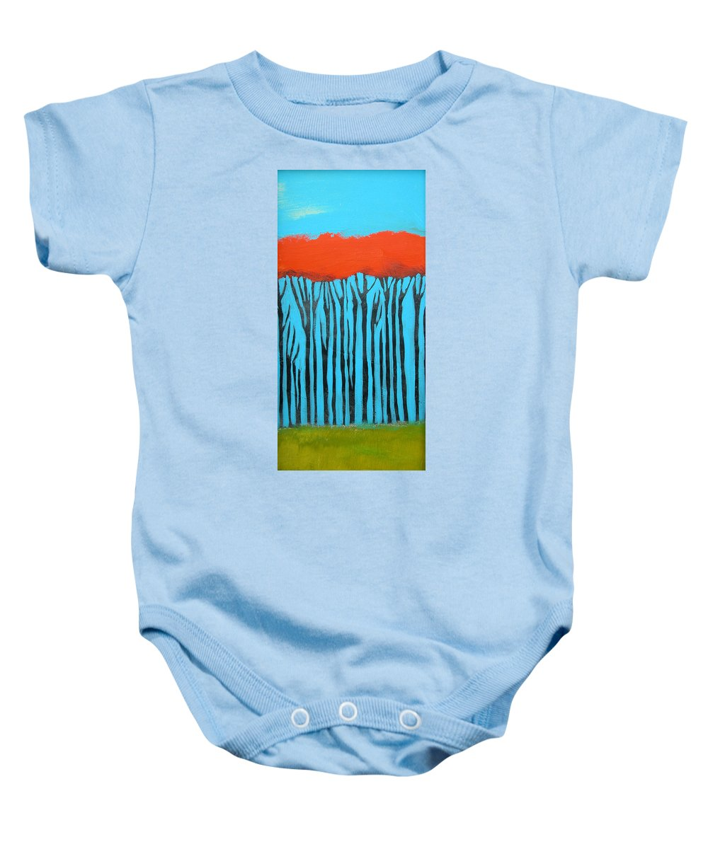Landscape Baby Onesie featuring the painting Tall Trees by Rhodes Rumsey