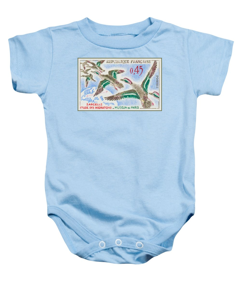 Birds Baby Onesie featuring the painting Teal Study Of Migration-museum Of Paris by Jeelan Clark