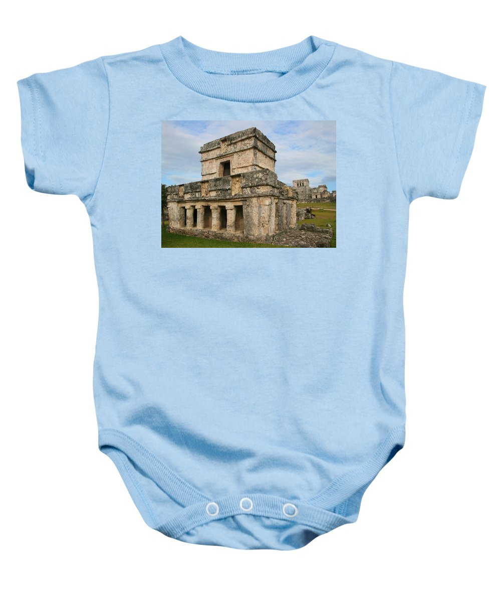 Temple Of The Frescoes Baby Onesie featuring the photograph Temple Of The Frescoes by Ellen Henneke