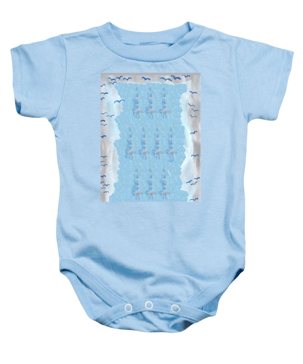 Tarot Baby Onesie featuring the painting Ten Of Swords by Sushila Burgess