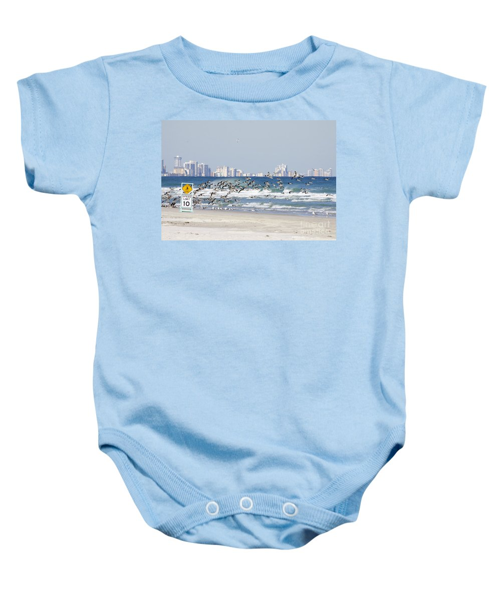 Birds Baby Onesie featuring the photograph Terns On The Move by Deborah Benoit