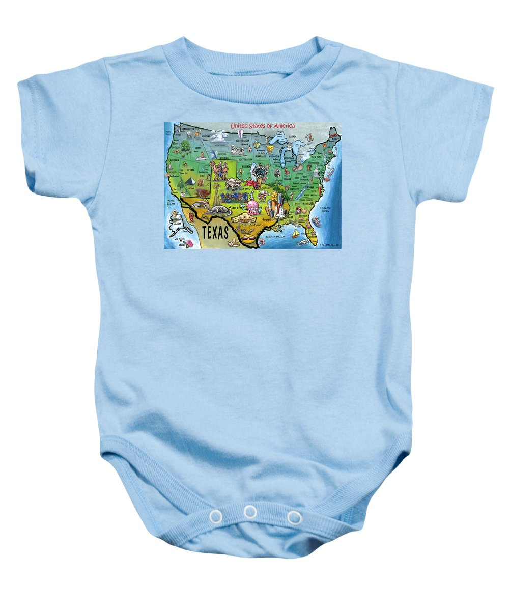Texas Baby Onesie featuring the painting Texas Usa by Kevin Middleton