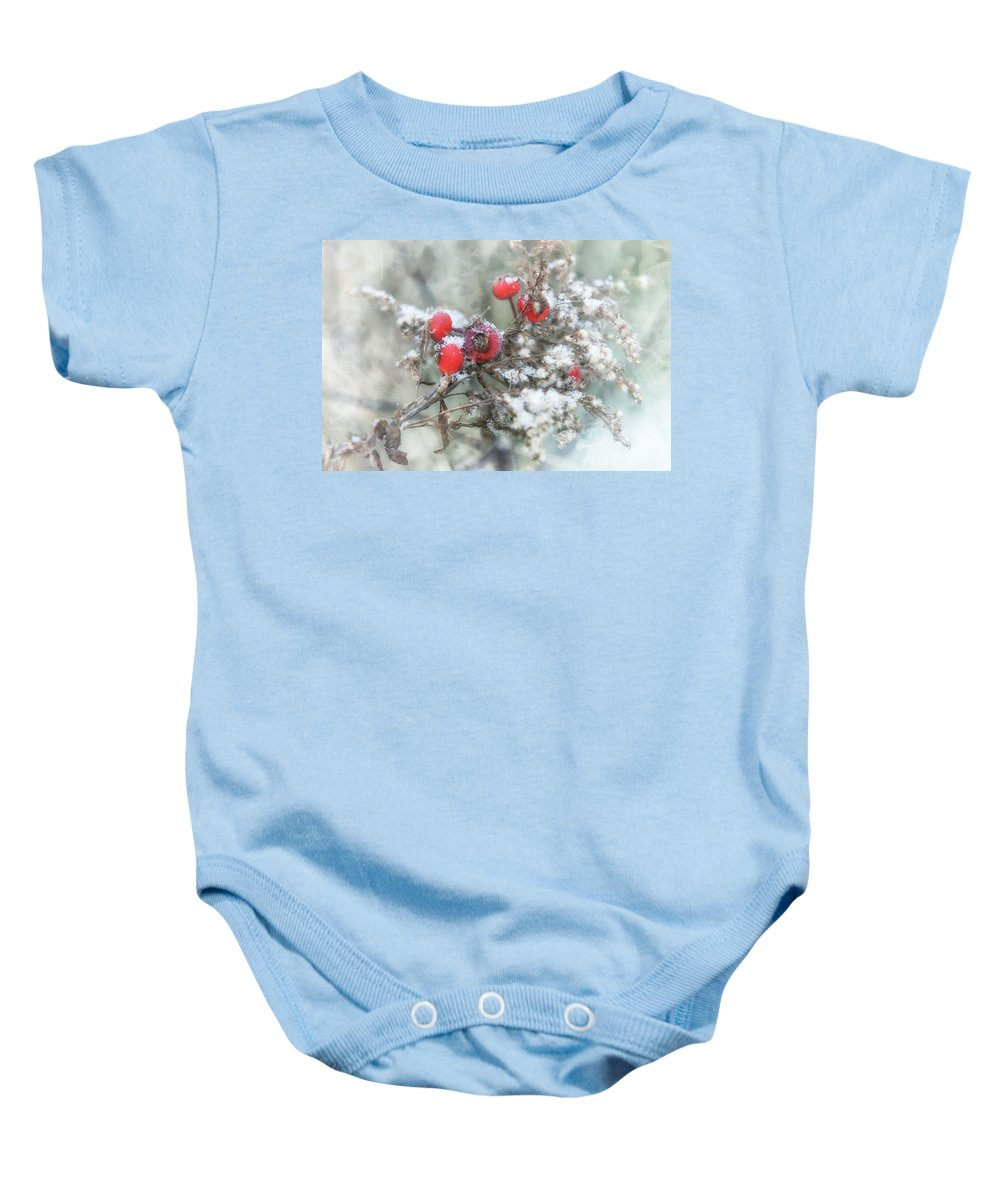 Snow Baby Onesie featuring the photograph That First Snowfall by Susan Capuano