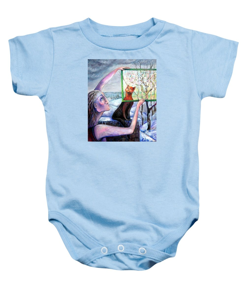 Hope Baby Onesie featuring the painting The Angel Of February by Elisheva Nesis