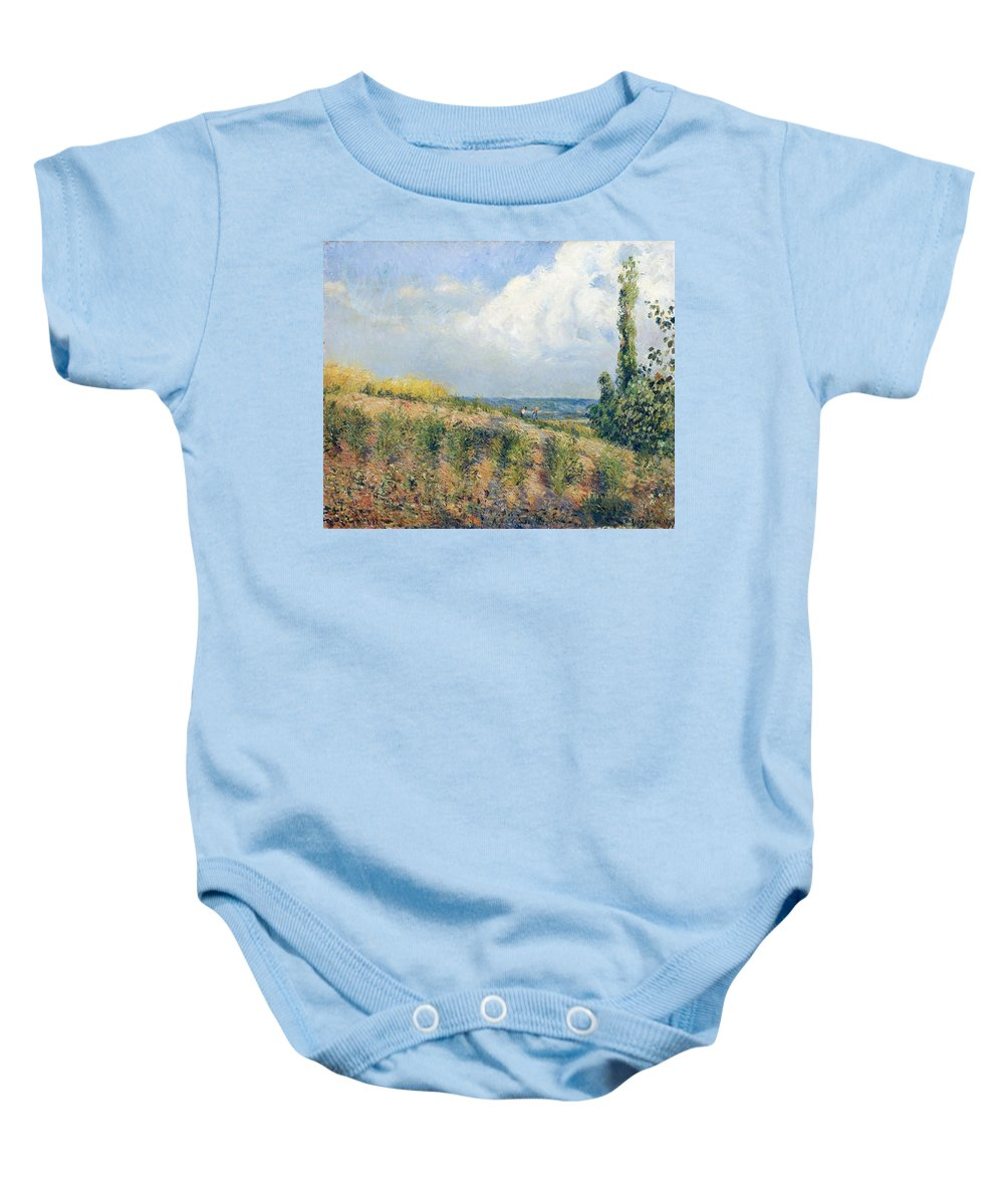 Art Baby Onesie featuring the painting The Approaching Storm by Camille Pissarro