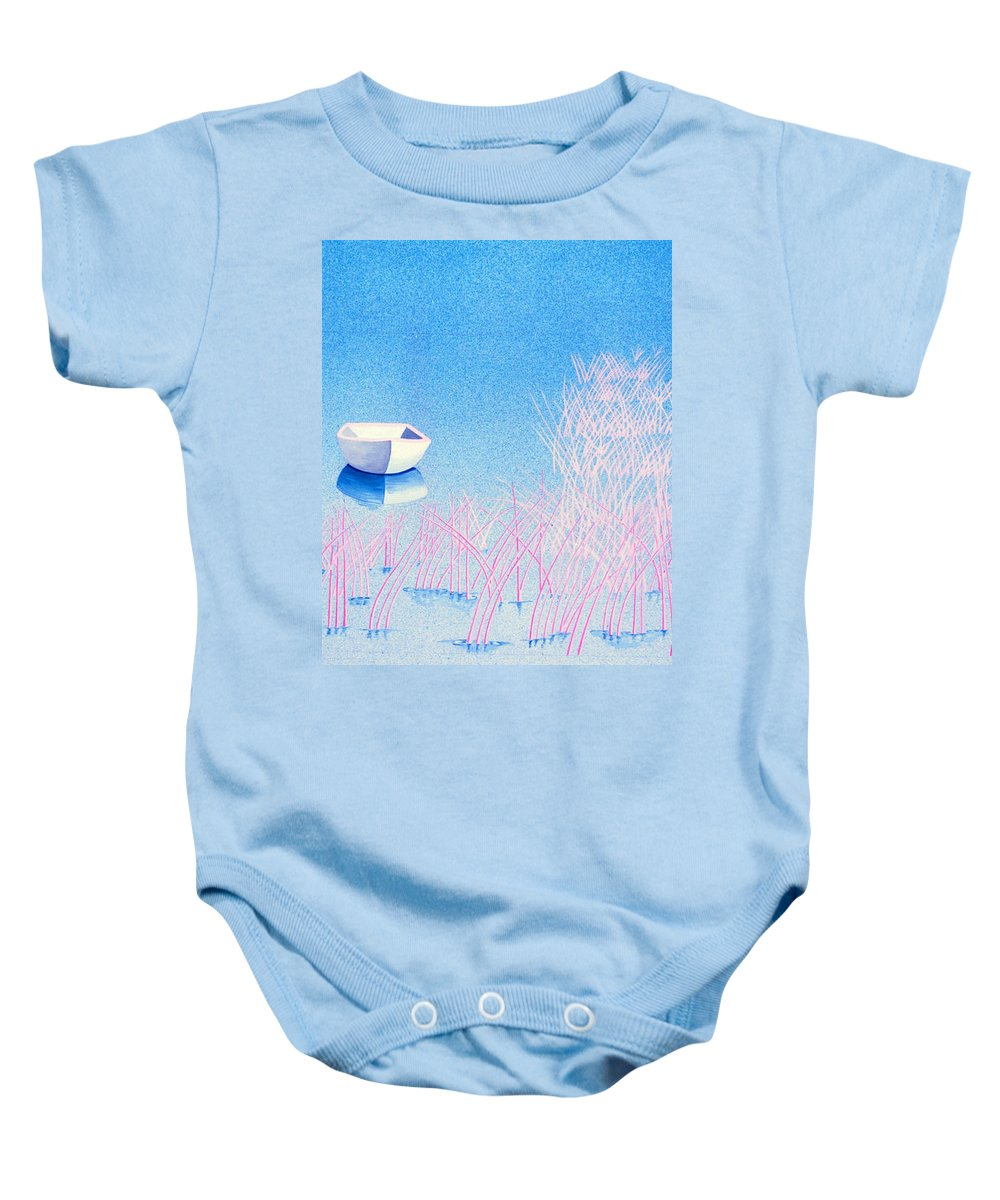 Blue Baby Onesie featuring the painting The Arrival by Daniele Zambardi