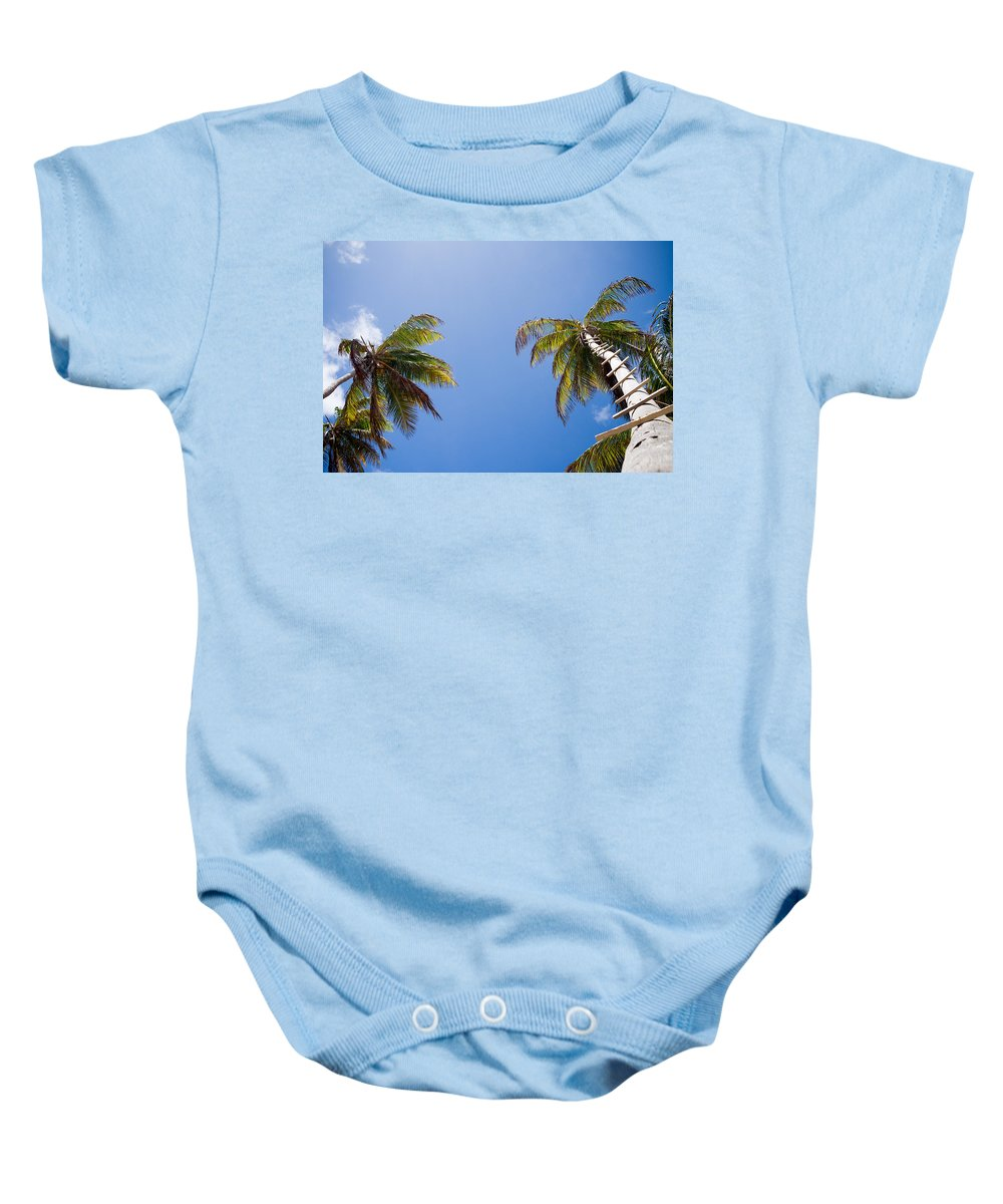 Saint Lucia Baby Onesie featuring the photograph The Coconut Ladder by Ferry Zievinger