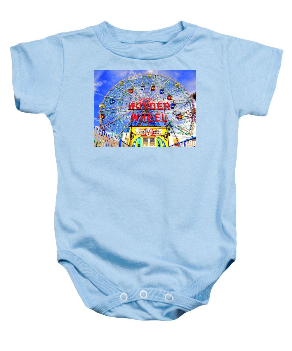 Coney Island Baby Onesie featuring the photograph The Coney Island Wonder Wheel by Ed Weidman