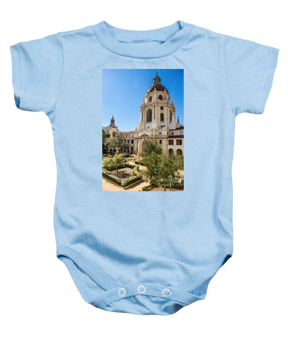 Pasadena City Hall Baby Onesie featuring the photograph The Courtyard - Beautiful Pasadena City Hall. by Jamie Pham