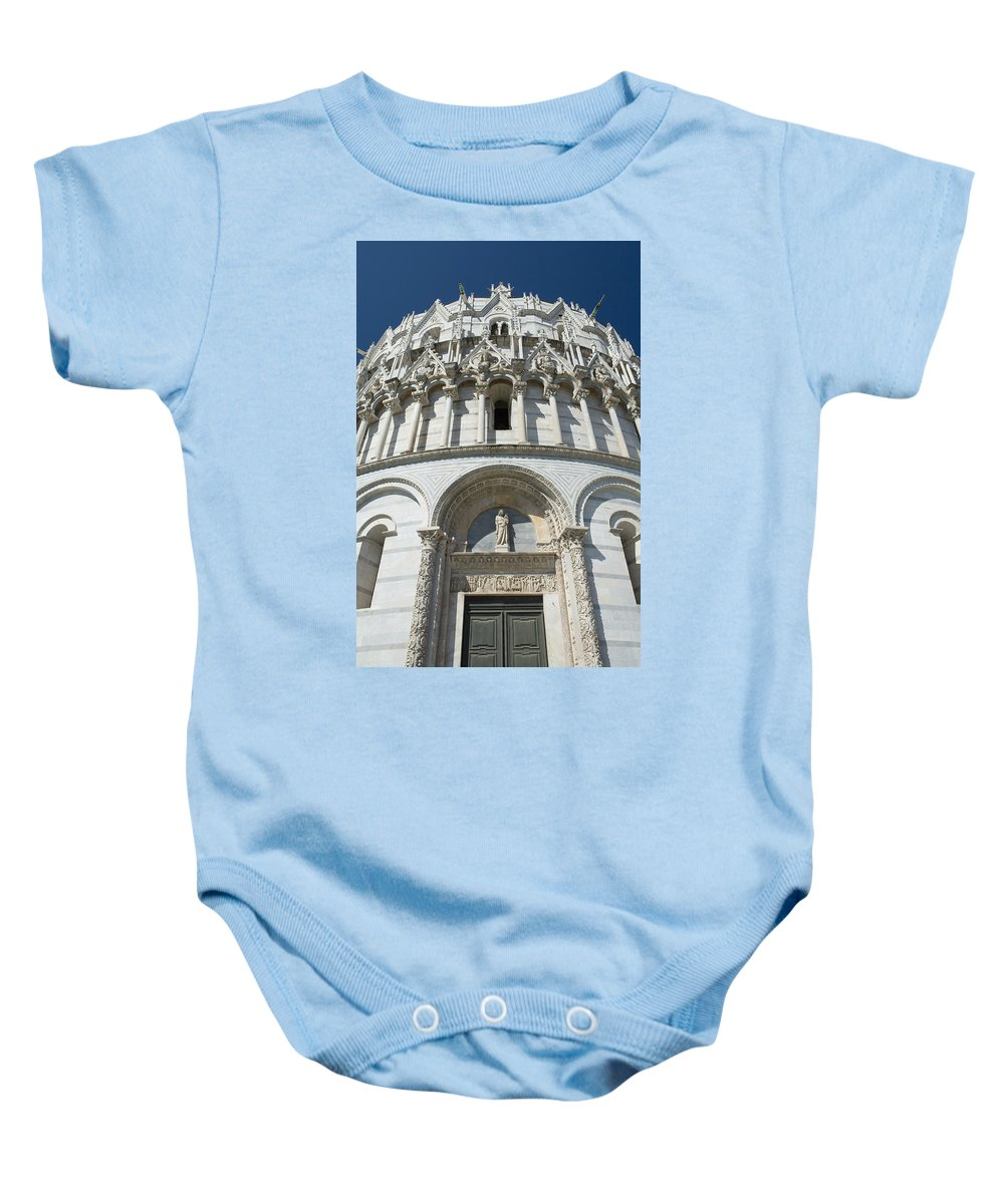 Baptisterium Baby Onesie featuring the photograph The Entrance To The Baptistery In Pisa by Jaroslav Frank