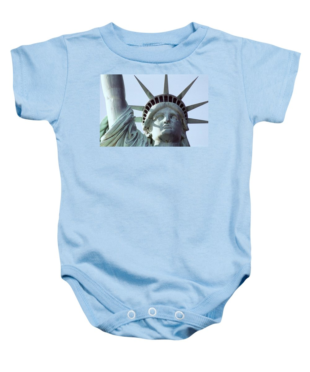 Statue Of Liberty Baby Onesie featuring the photograph The Face Of Liberty by Allen Beatty