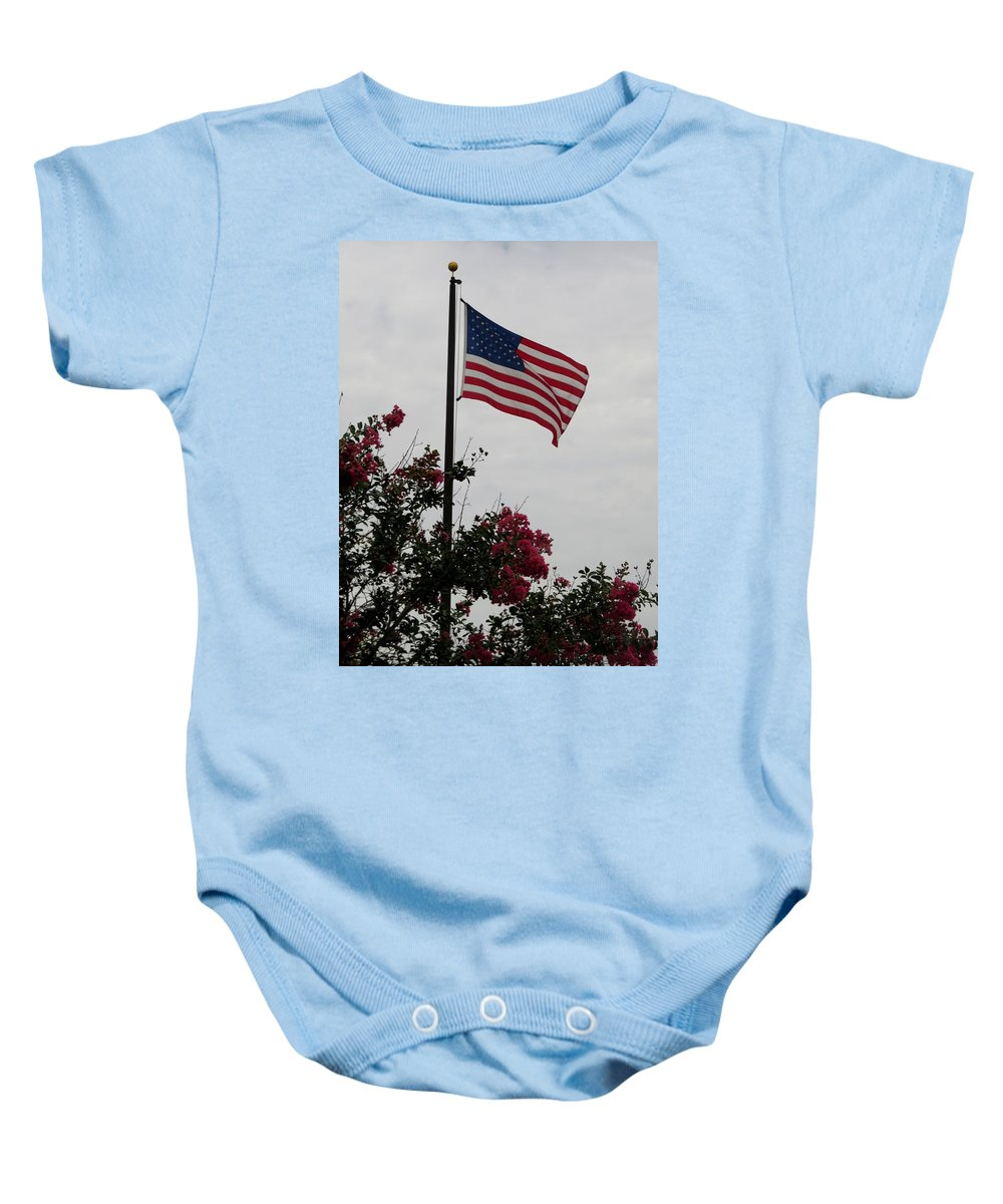 Flag Baby Onesie featuring the photograph The Flag by Zina Stromberg