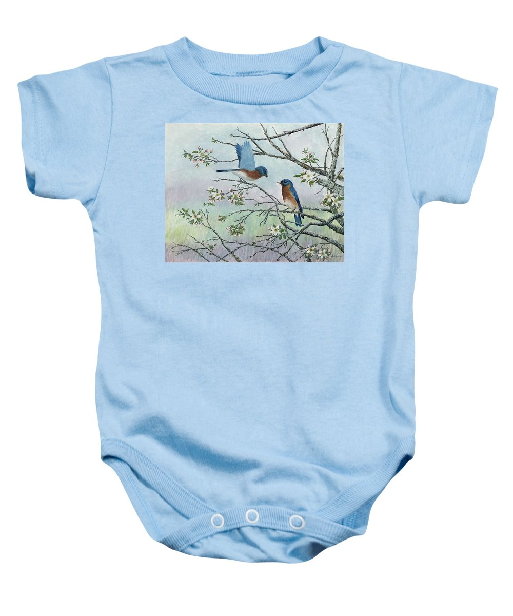 Bluebirds; Trees; Wildlife Baby Onesie featuring the painting The Gift by Ben Kiger