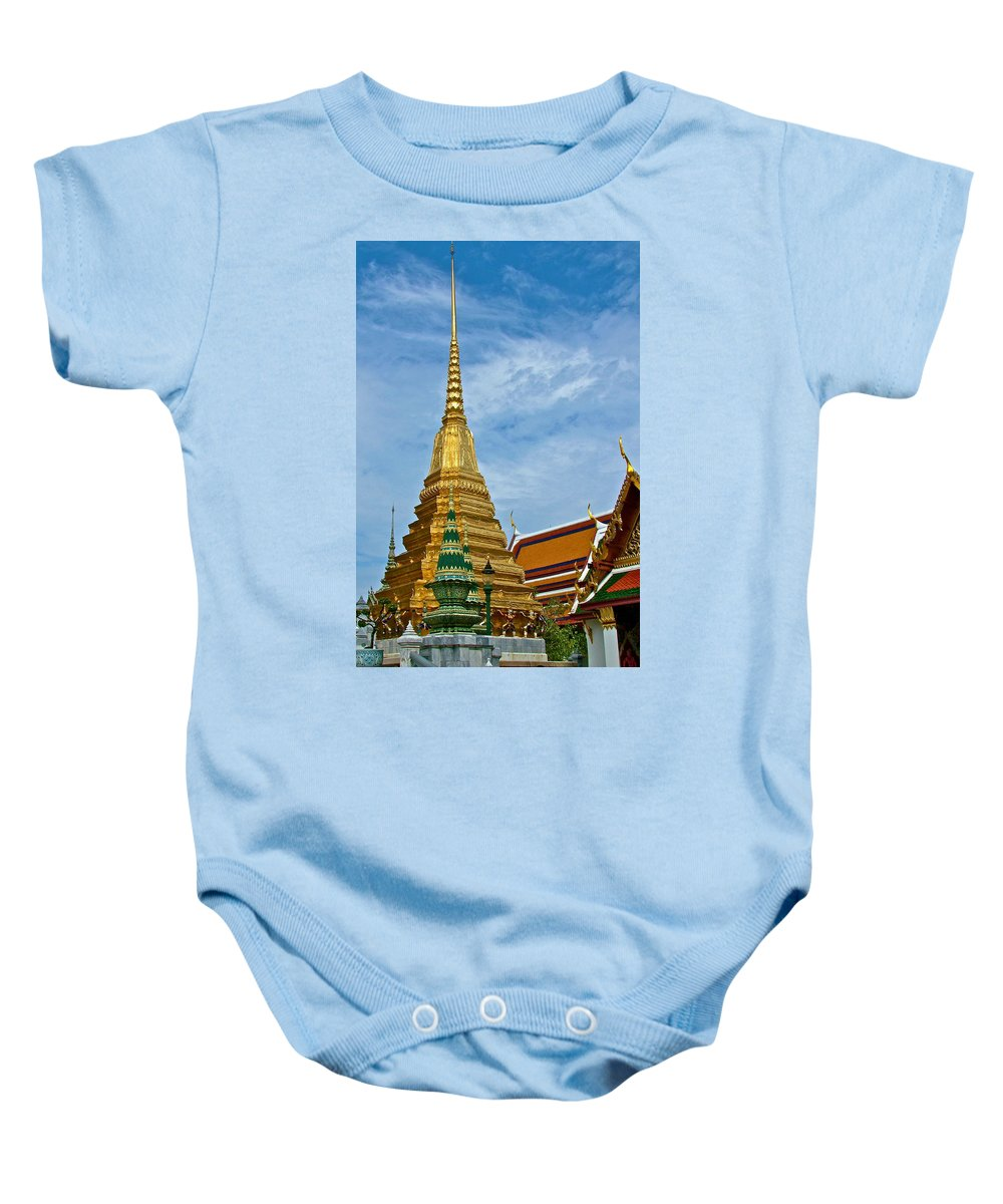 The Golden Chedis At Grand Palace Of Thailand In Bangkok Baby Onesie featuring the photograph The Golden Chedis At Grand Palace Of Thailand In Bangkok by Ruth Hager