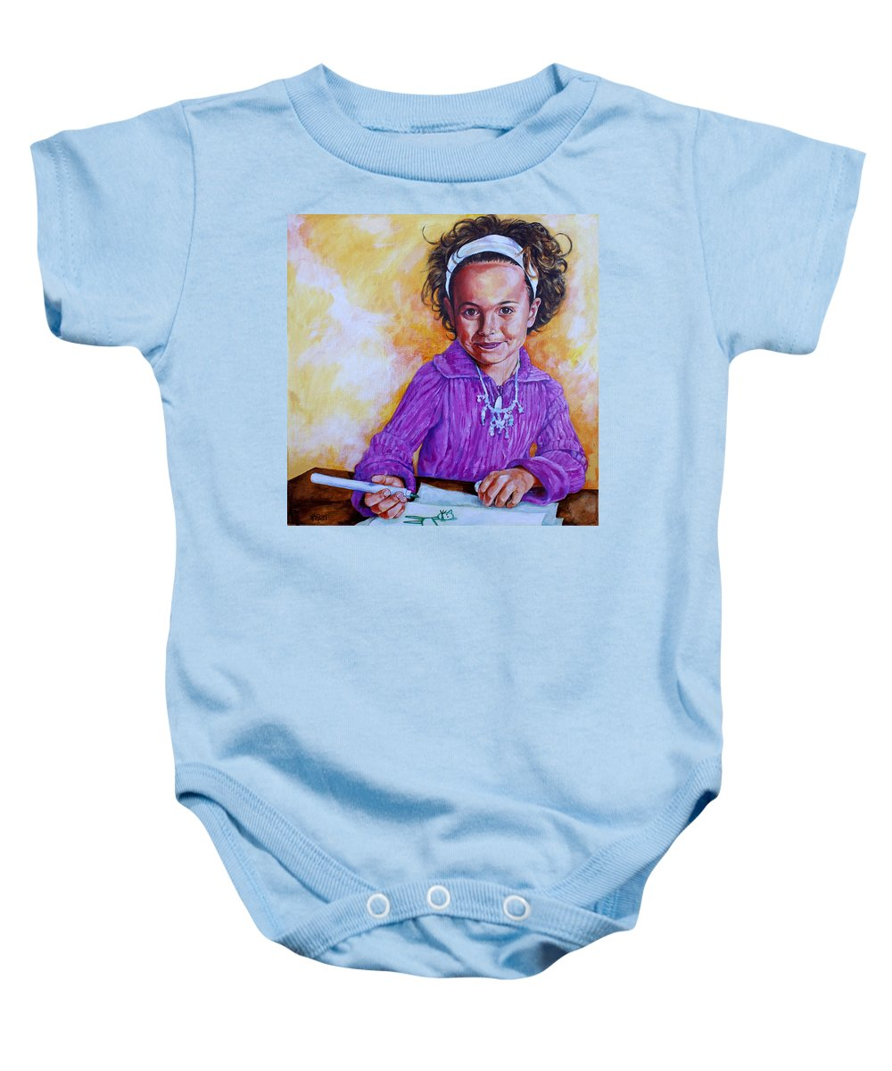 Girl Baby Onesie featuring the painting The Green Cat by Derrick Higgins