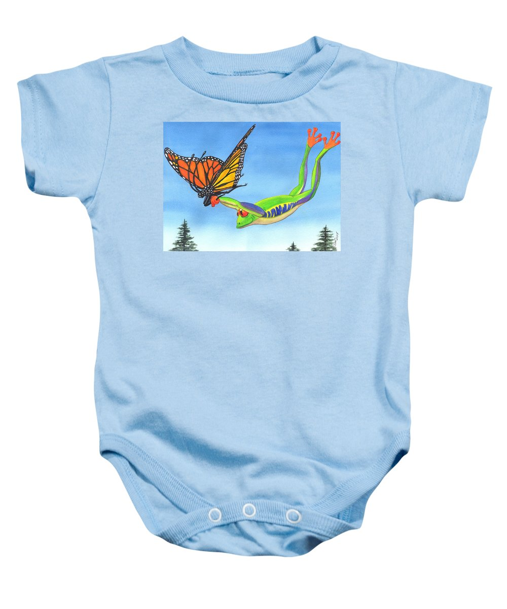 Frog Baby Onesie featuring the painting The Hang Glider by Catherine G McElroy