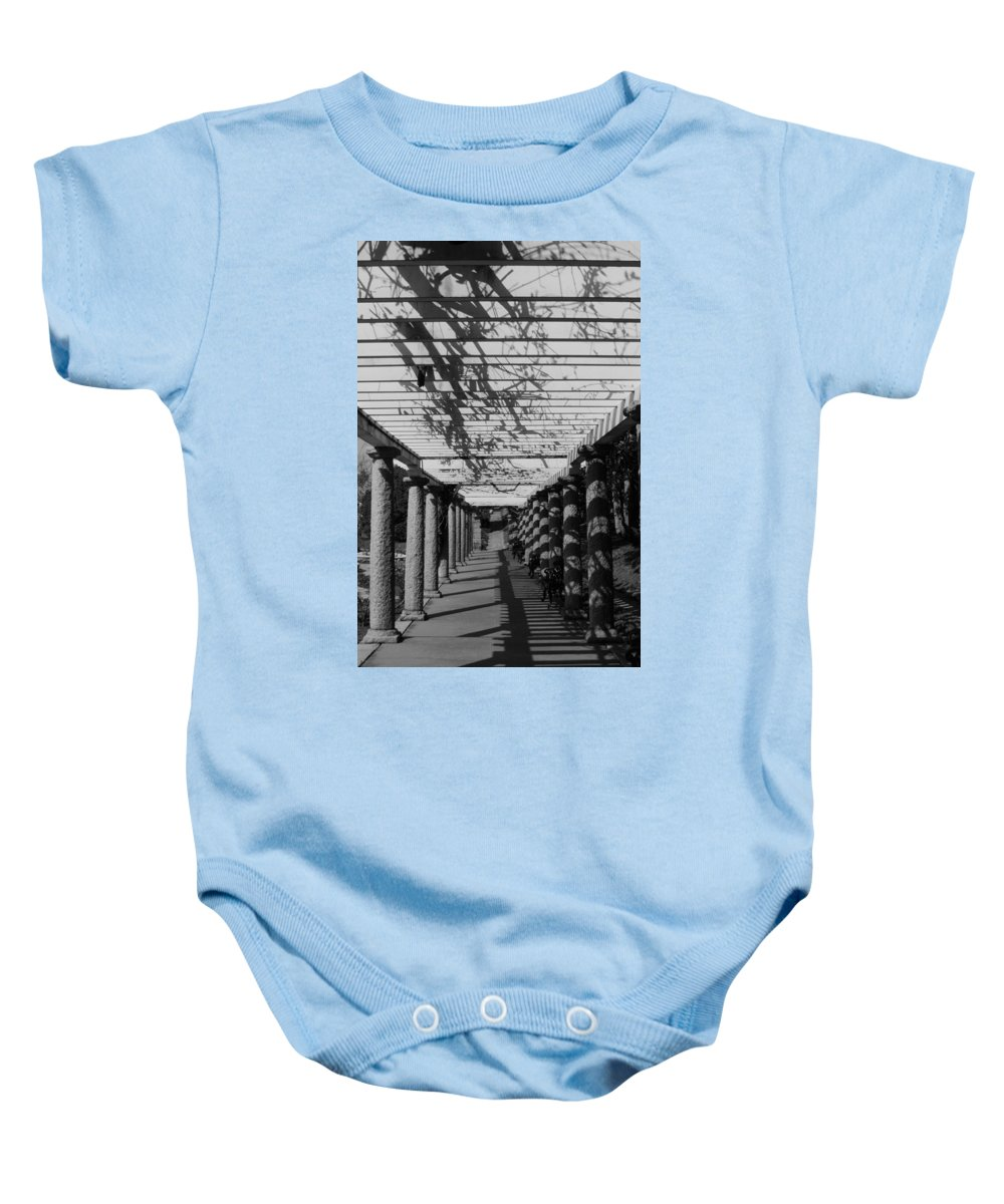 Bw Baby Onesie featuring the photograph The Long Walk by Stacy Abbott