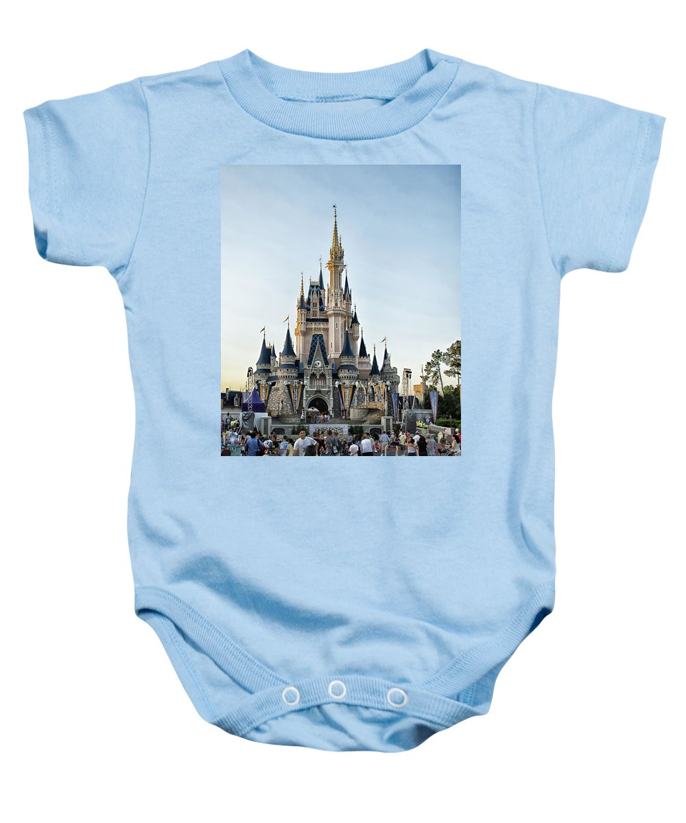 Magic Kingdom Baby Onesie featuring the photograph The Magic Kingdom Castle On A Beautiful Summer Day by Thomas Woolworth
