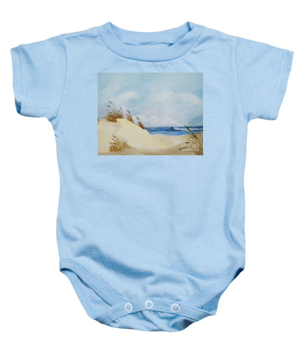 Beach Baby Onesie featuring the painting The Path To The Beach by Debbie Broadway